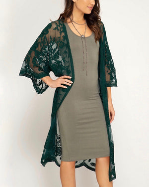 anabelle - crochet lace midi duster kimono cardigan - SEA GREEN