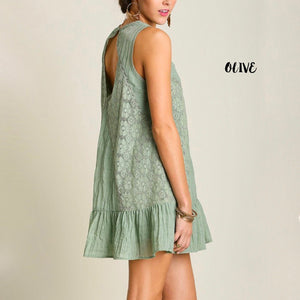 mock neck lace dress - more colors