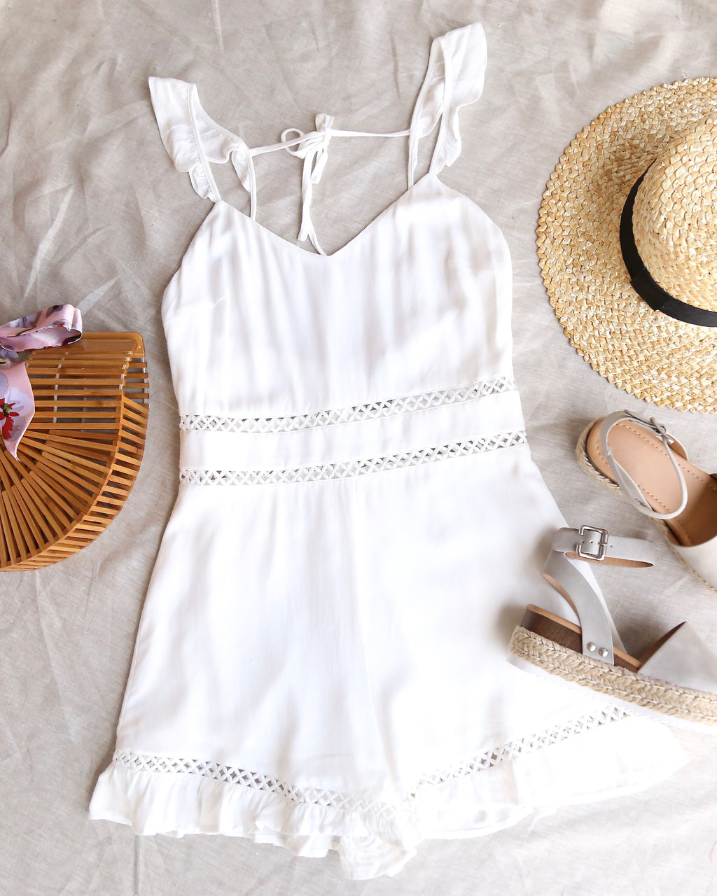 Final Sale - Sleeveless Eyelet Detailed Ruffled Romper - Off White