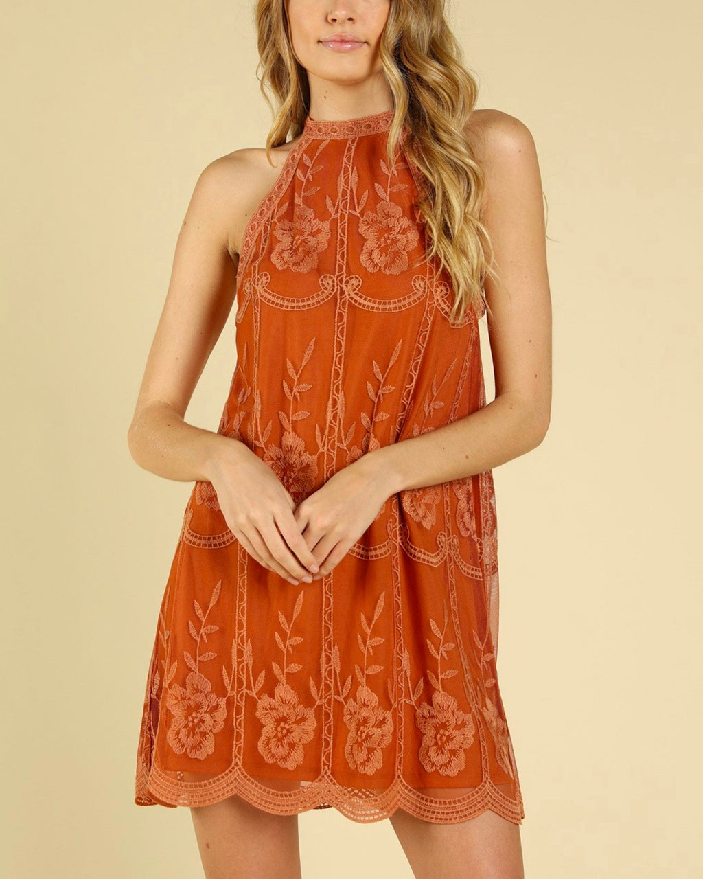 as you wish embroidered halter lace mini dress - more colors
