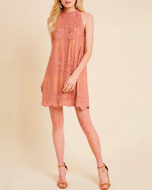 As You Wish Embroidered Halter Lace Mini Dress in More Colors