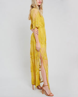 as you wish embroidered lace maxi dress (women) - mustard