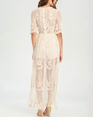 As You Wish Womens Embroidered Lace Maxi Dress in More Colors