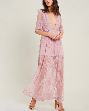 as you wish embroidered lace maxi dress (women) - light mauve
