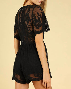 as you wish wild honey honey punch SHORT SLEEVE EMBROIDERED DEEP V LACE ROMPER Black
