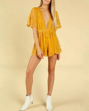 as you wish wild honey honey punch SHORT SLEEVE EMBROIDERED DEEP V LACE ROMPER CHLOE YELLOW