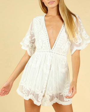 as you wish wild honey honey punch SHORT SLEEVE EMBROIDERED DEEP V LACE ROMPER WHITE