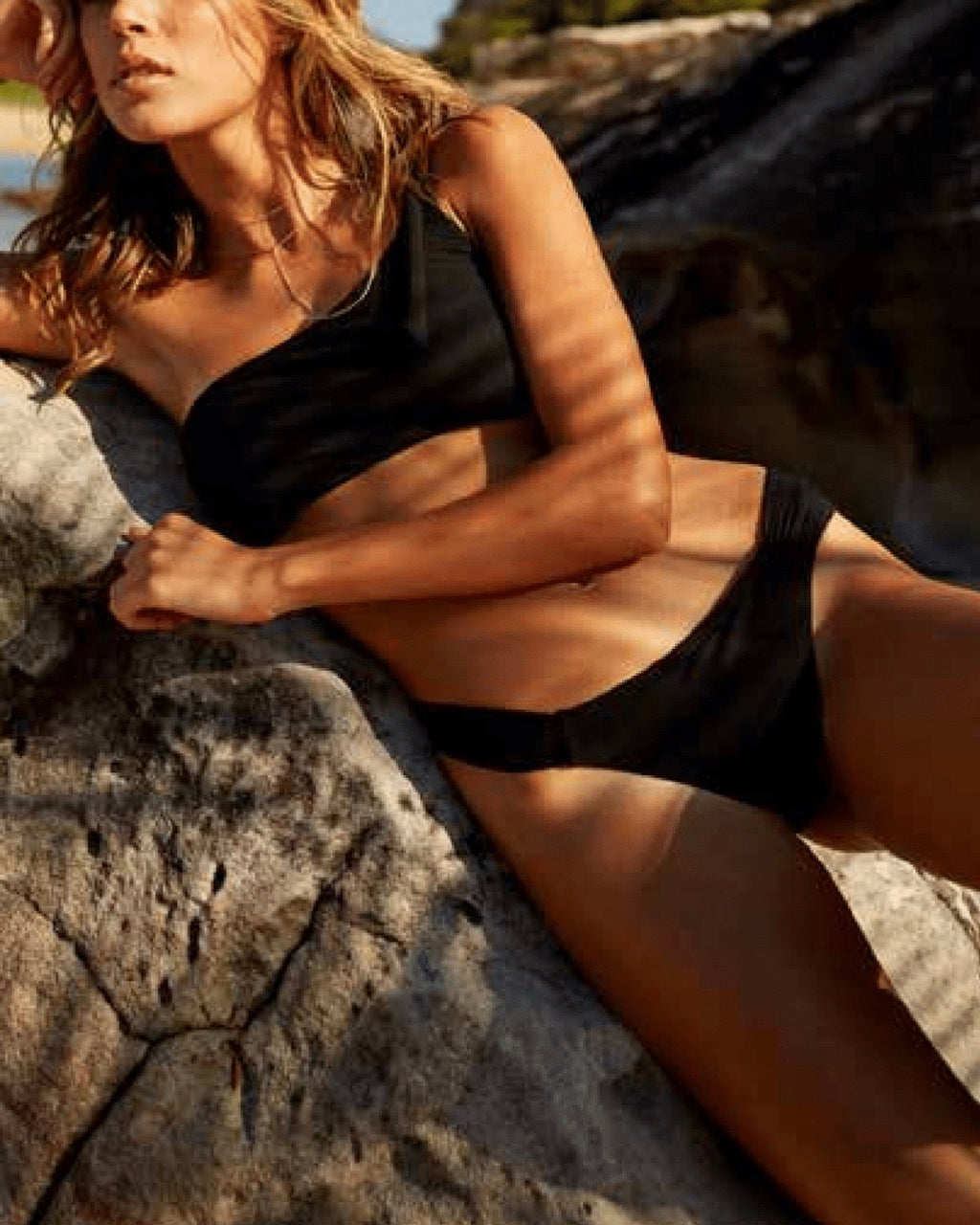 Final Sale - Somedays Lovin - Ashed Trail Asymmetrical Bikini Separates in Black