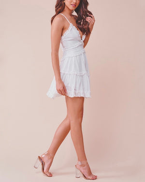 Attention Grabber Ruffled Trim Mini Dress - White