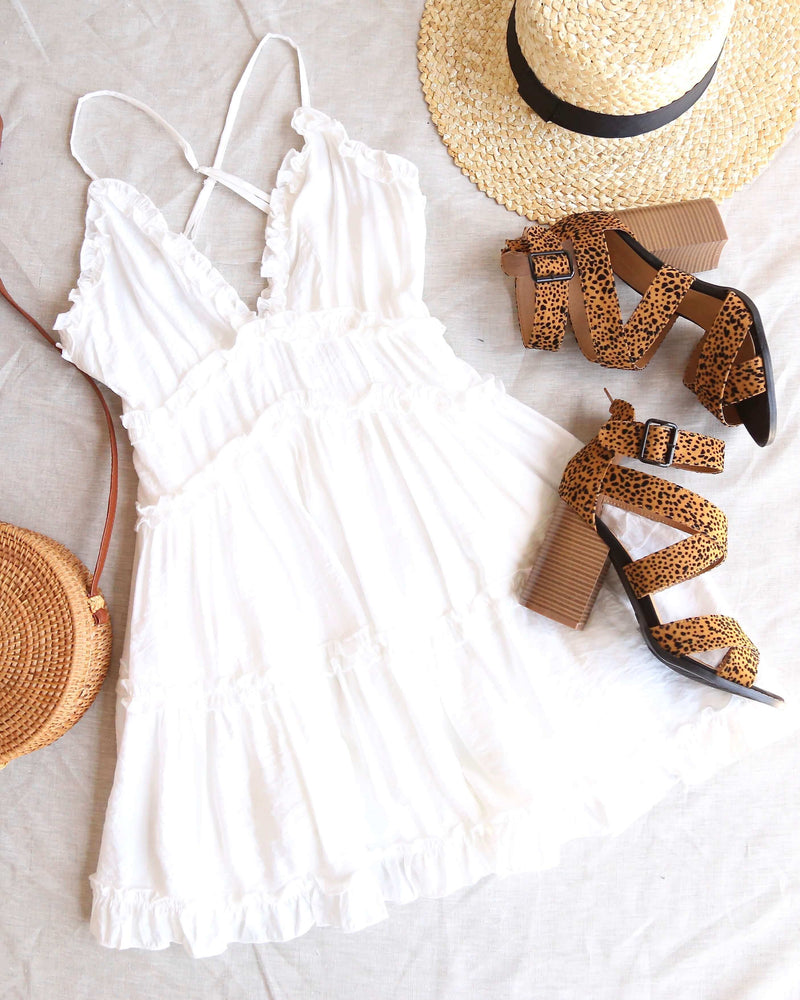 Attention Grabber Ruffled Trim Mini Dress in White