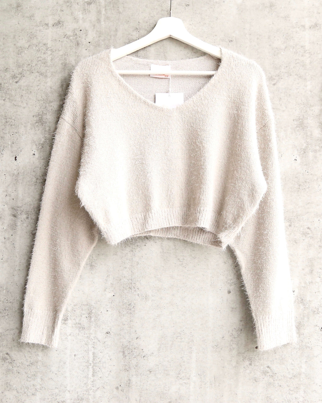 Soft Cozy Cropped Fuzzy Sweater SILVER