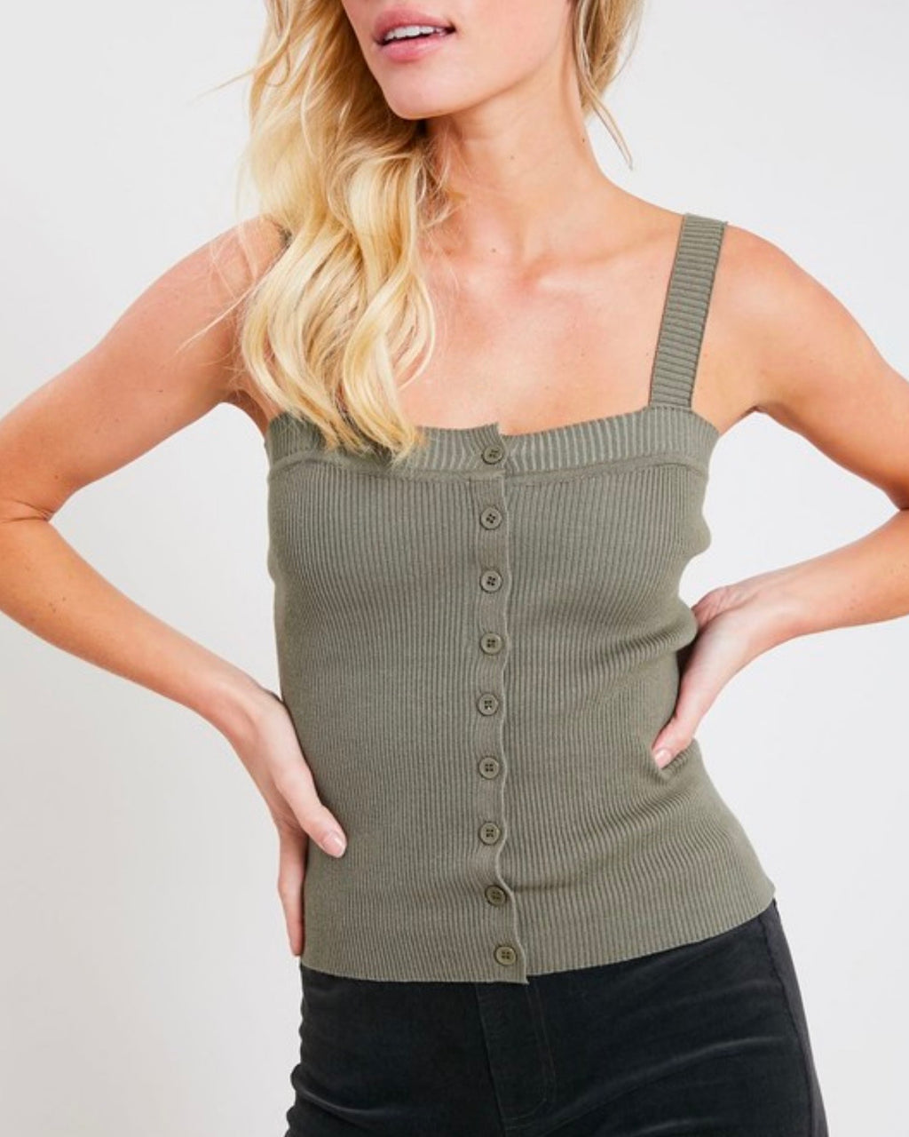 basic knit button front square neck tank in olive