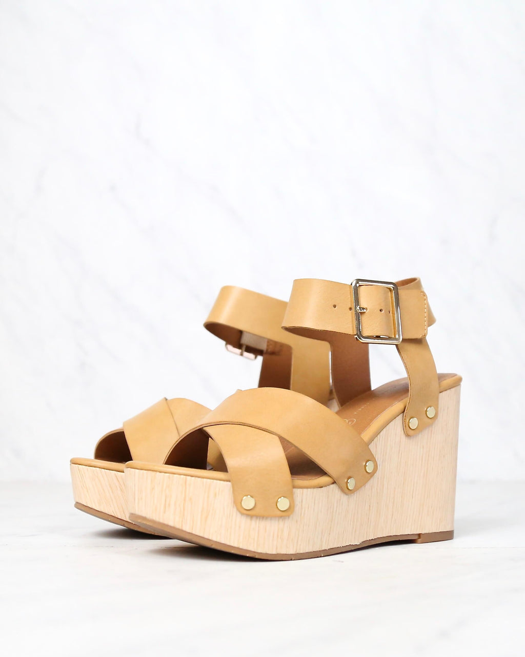 Final Sale - Bc Footwear - Teeny Vegan Platform Wedge Sandals - Tan