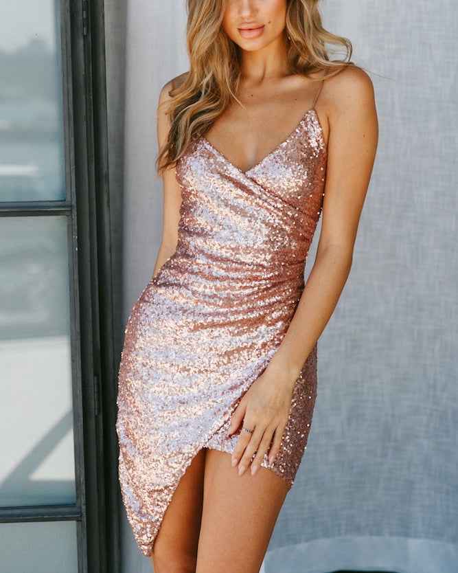 sequin beauty queen dress - ROSE GOLD