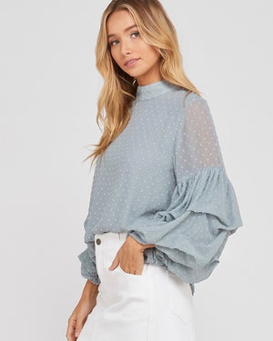 I Got News Bubble Sleeves Woven Women's Top in Sage