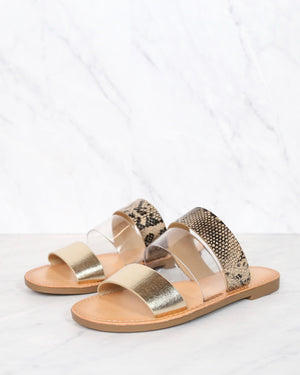 gold python three band slip on sandals