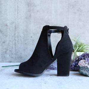 vegan suede peep toe cut out bootie - black