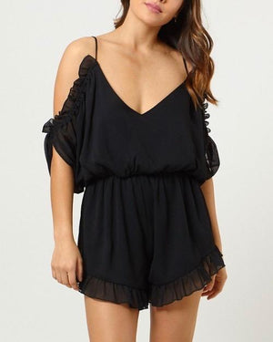 Final Sale - 4SI3NNA - peek a boo shoulder flutter romper with ruffle hem - black