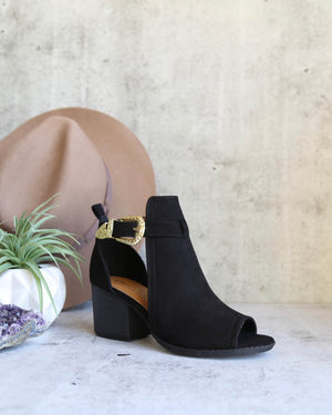 Peep Toe Ankle Booties in Black