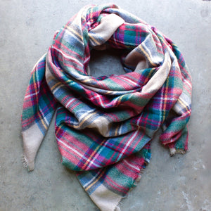 oversize plaid blanket scarf - shophearts - 1