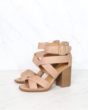 sneaky snake textured strappy peep toe heeled sandal in dark blush