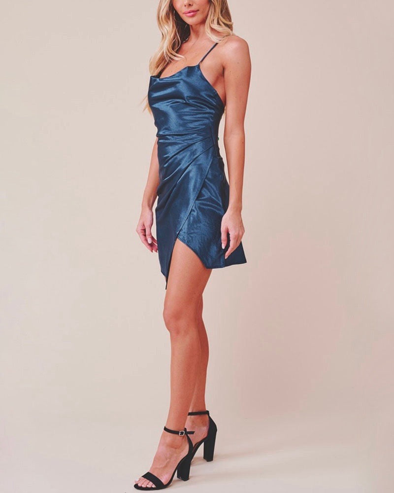 Breaking Hearts Satin Cowl Neck Front Wrap Mini Dress in Navy