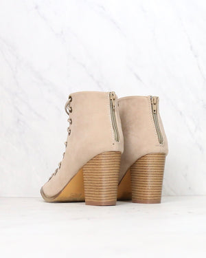 faux suede peep toe bootie (women) - more colors
