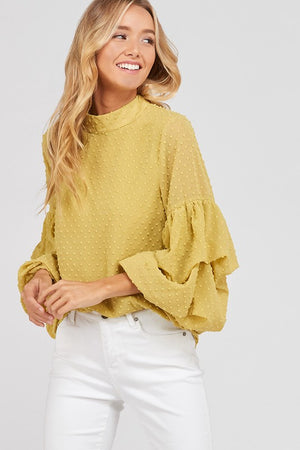 I got news - bubble sleeves woven women's top - mustard