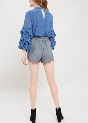 I got news - bubble sleeves woven women's top - v. blue