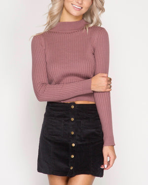 corduroy button down mini skirt with pockets - black