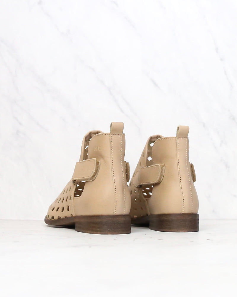 Musse & Cloud - Caila Leather Perforated Festival Ankle Booties in Taupe