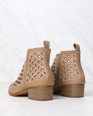 cape robbin - vegan leather cutout booties - NUDE