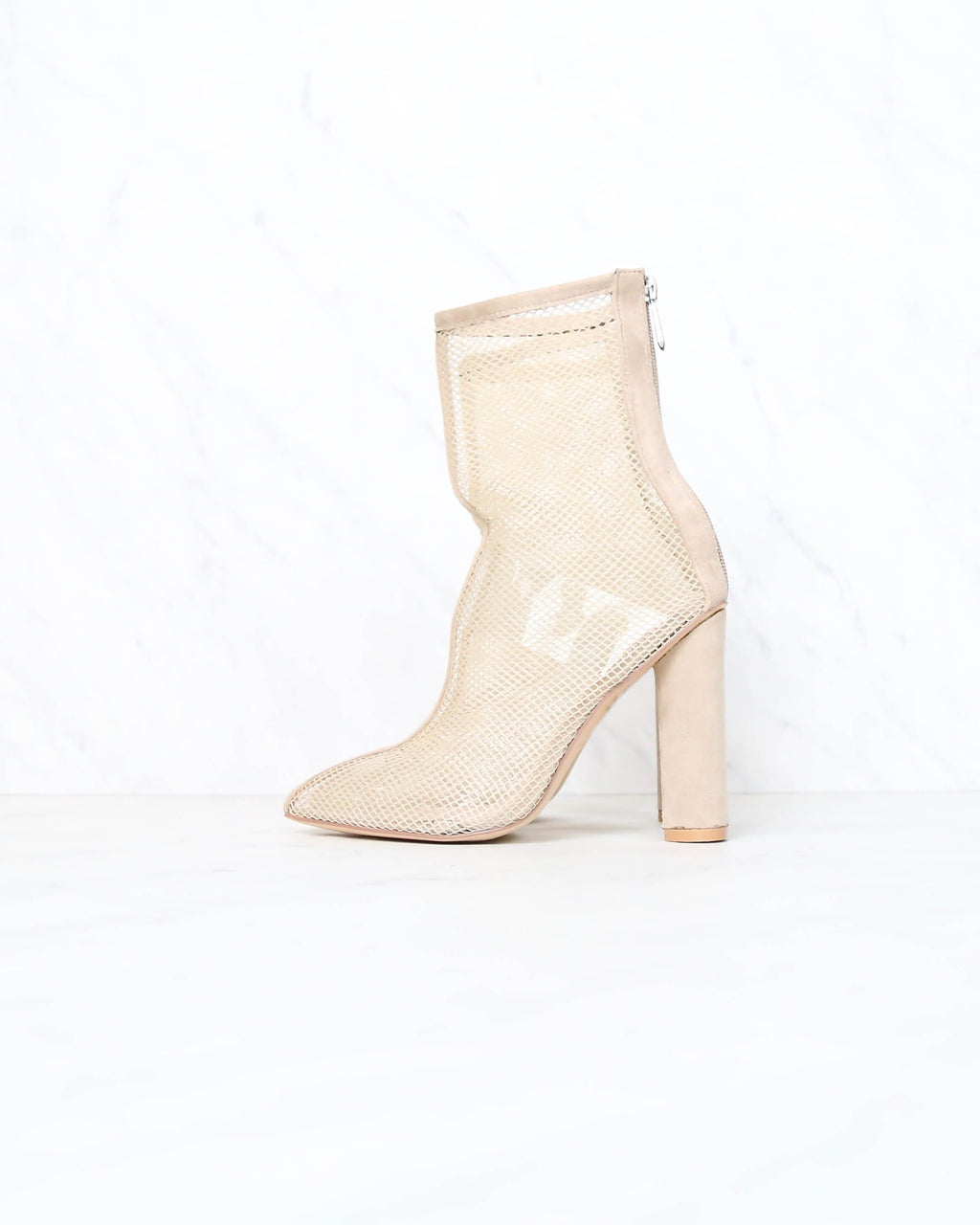 Cape Robbin - Other Woman Pointed Toe Mesh Heel Bootie in Nude