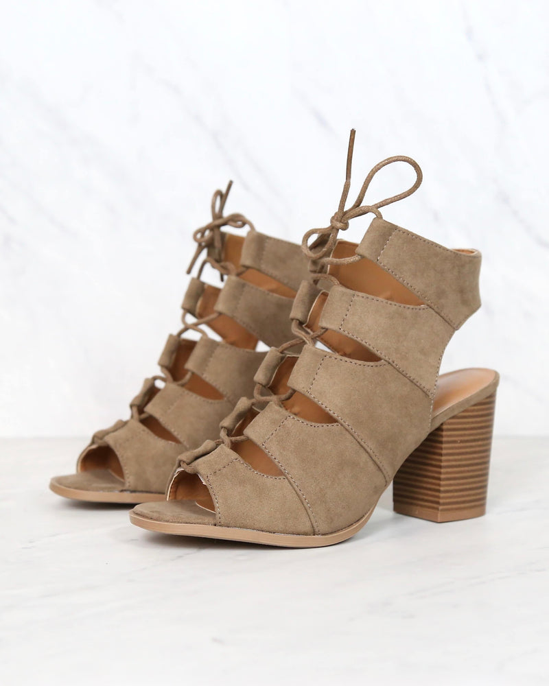 Peekaboo Cut Out Heels in Taupe