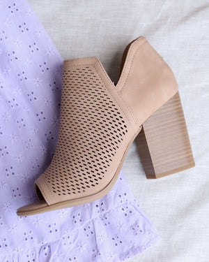 Niki Natural Perforated Open Toe Heeled Ankle Booties