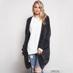 Textured Knit Shawl Cardigan in Charcoal