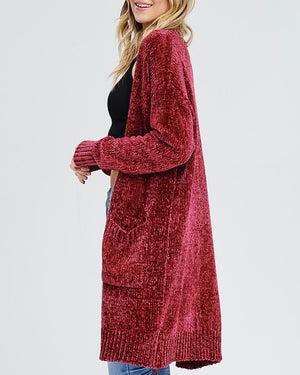 Open Front Chenille Cardigan Duster in Burgundy