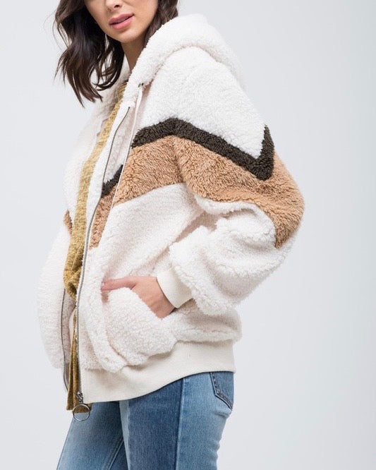 chevron sherpa puffy zip up jacket - CREAM
