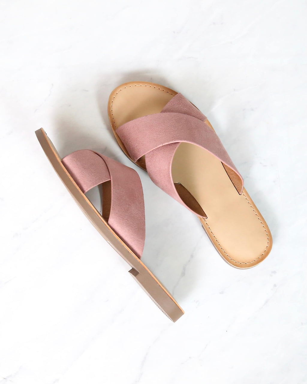 coco criss cross faux suede slip on flat sandals - dusty mauve