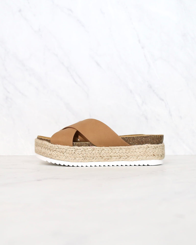Tan Criss Cross Platform Slip On Sandals