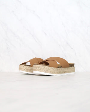 tan criss cross platform slip on sandal