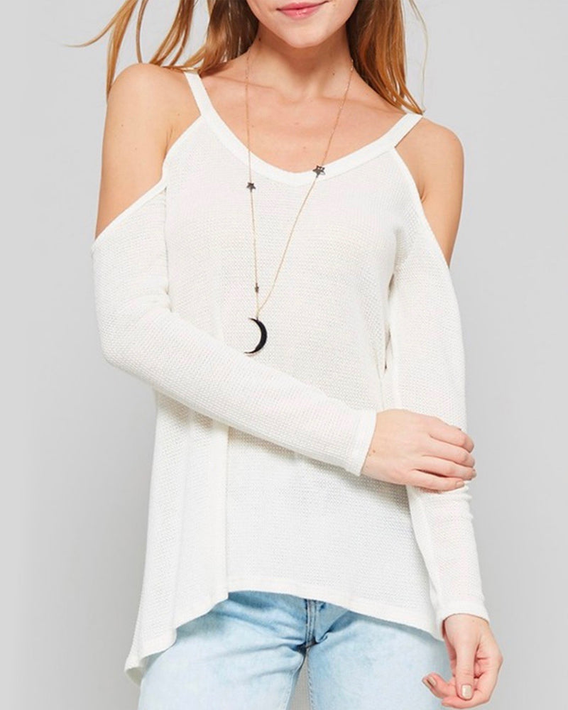 Long Sleeve Cold Shoulder Thermal Top - More Colors