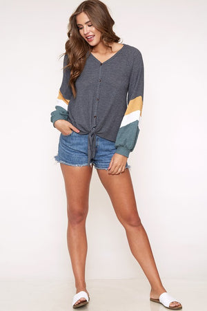 color blocked chevron pattern long sleeve knit top - charcoal