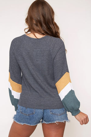 Final Sale - Color Blocked Chevron Pattern Long Sleeve Knit Top - Charcoal