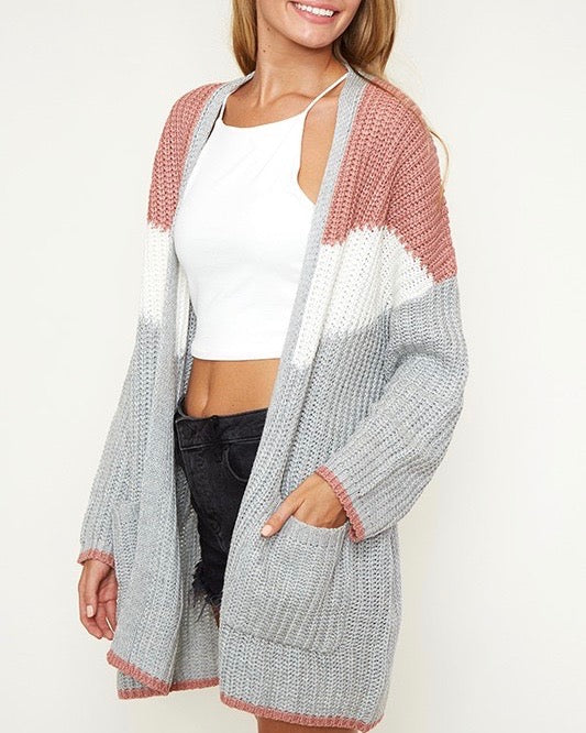 open front longline colorblock knit cardigan with pockets - mauve/multi