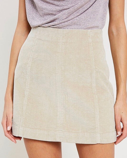corduroy mini skirt - natural