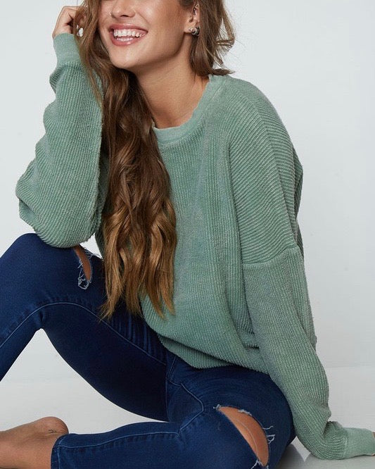 long sleeve corduroy knit crew neck sweatshirt - more colors