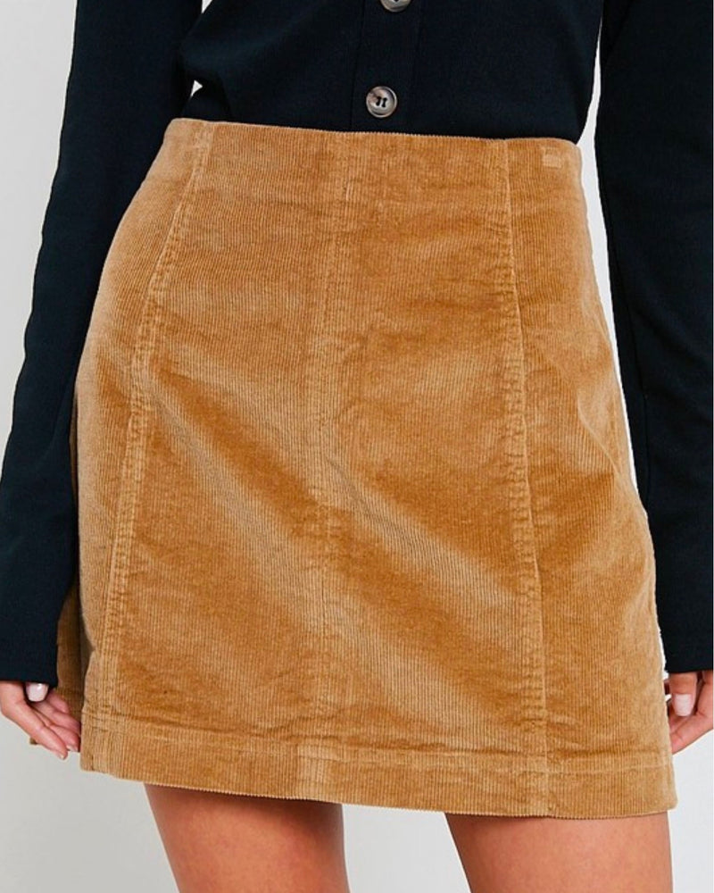 Corduroy Mini Skirt in Taupe