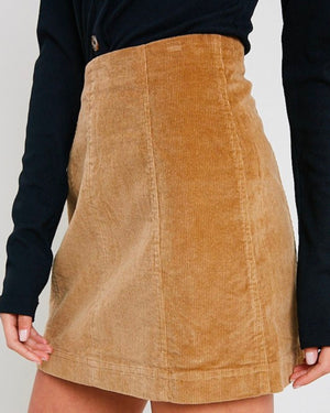 corduroy mini skirt - taupe