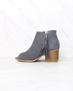 Olivia perforated ankle booties - more colors - STEEL GREY